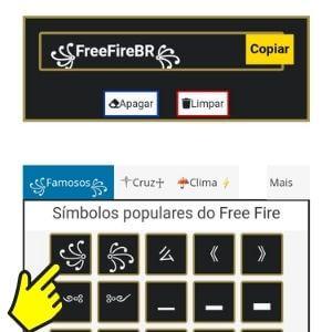 Símbolos para Nick do Free Fire e outros jogos.