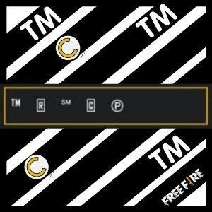 Símbolo marca registrada, Tm pequeno, copyright para nick do Free Fire