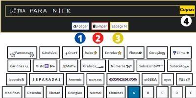 letras para apelido e letras com espaço para nick