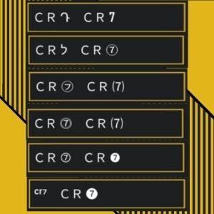 símbolos do ou número do 7 do CR7 ou Cristiano Ronaldo para nick