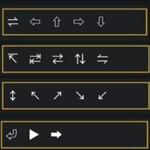 símbolos de seta cima e baixo para nick