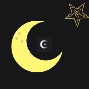Símbolo de lua com estrela para nick